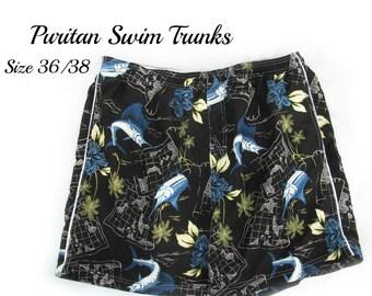 Men's swim trunks, swim shorts, surf shorts, men's summer shorts,  swim trunks,  size Medium,   # 3