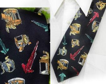 fisherman tie , Fishing Themed Tie , gift for fishermen  - Silk necktie , Novelty tie , sport tie ,  # T 77