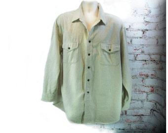 men's cream shirt, Men's button down shirt, Long sleeve shirt, St. John's Bay Shirt, size XL ,   # 13