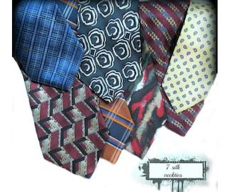 vintage tie lot, Business tie, men's gift, Silk tie, long tie, 7 Ties,      # 70
