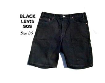 7f4d3702 black jean shorts, Levis 505 shorts, men's jean shorts, denim shorts, 90's  shorts, size -36 shorts, # 20