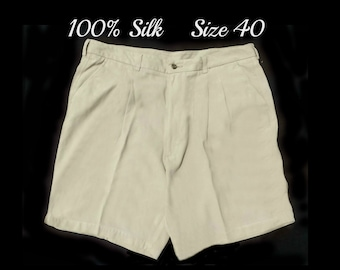Tan golf shorts men -size 40 shorts men - vintage Haggar shorts men , casual shorts tan, men's tan shorts - 100% silk - # 55