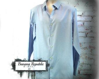 Men's blue shirt, men's stripped shirt,  collared shirt, Long sleeve shirt,  size 17 - 17 1/2  XL,   # 2