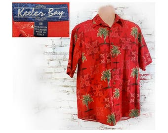 Men's Hawaiian shirt, red Hawaiian shirt - Hawaiian button up shirt - Aloha Tiki Shirt,  men's rust shirt -Men's Vacation Shirt,    # 24