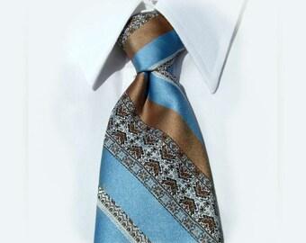 blue necktie, Clip tie, Blue clip on necktie, men's clip on tie, Men's tie,  70's tie    # T 57
