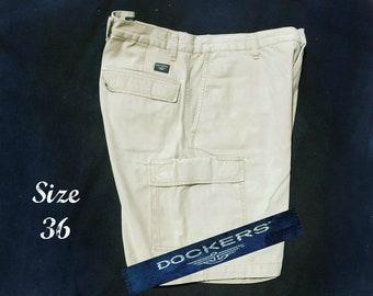 cargo shorts men ,vintage cotton shorts men -vintage shorts tan men ,men's cotton shorts, men's beige shorts, Size 36 shorts men ,    # 31