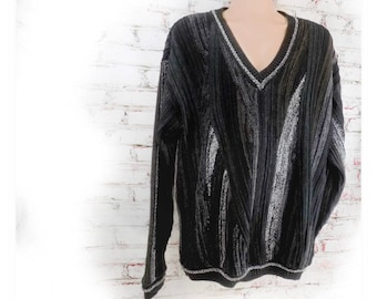 V neck sweater, Slouchy Oversize Boyfriend sweater - Pullover Crewneck Sweater - Hipster New Wave - preppy sweater- X large sweater , # 4