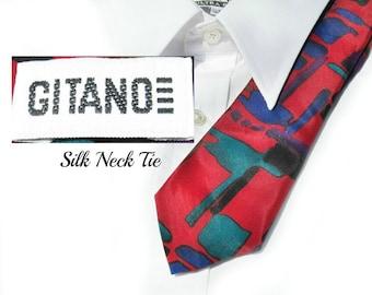 Silk necktie - Red Abstract tie - men,s thin tie - men's accessories  - suit tie - designer tie - office tie - neck wear  - # T 47