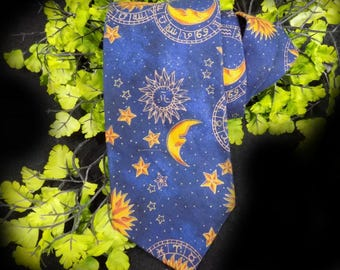 Navy Cotton tie - celestial tie -Astrological necktie -Stars Sun and Moon Tie - Navy Blues tie -  / Tango  # T 67