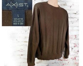 Brown crew neck sweater men - summer sweater men ,light weight Sweater, brown summer sweater   Size Large  # 18