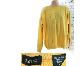 Men yellow cotton Sweater, Crew neck Sweater,Vintage Sweater, Men's Clothing- size Large - unisex sweater -  # 24