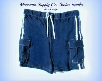 swim trunks,Vintage swim shorts,red swim trunks, men's summer shorts, Size L  42 to 46 waist, # 1