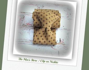 Clip on tie, clip necktie, brown tie, Men's tie,suit tie,  70's tie    #T 66