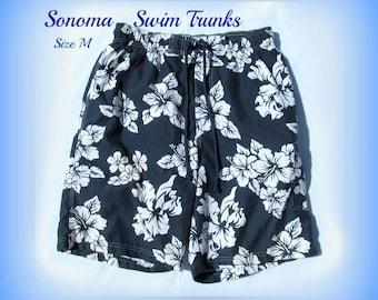 swim trunks,Vintage swim shorts, men's summer shorts, Size M  32 to 36 waist, # 14