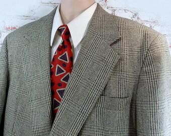 Hounds Tooth Sport Coat -men's Sport coat, grey beige sport coat -men's hounds tooth coat, men's sports jacket, size 48 .   # 110