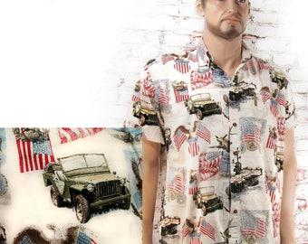 Veteran shirt - USA service shirt - short sleeve shirt, button down shirt , Men's casual shirt , size X L    # 14