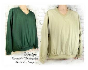 pullover windbreaker men - golf windbreaker men - reversible pullover -  Long Sleeve windbreaker - Green Tan size large, # 2