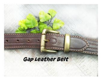 Brown Leather belt - unisex belt - men's belt , Gap belt , dress belt , Brass buckle belt , # B 18