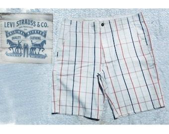 men's summer shorts -Vintage Levi shorts men - plaid shorts men , men's plaid summer shorts, men's  preppy shorts, size 34 shorts men , # 9