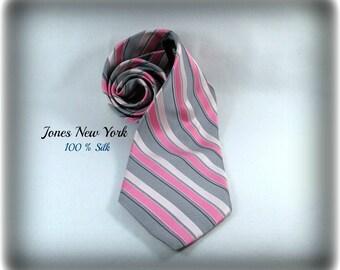 pink necktie, men's silk necktie, Jones New York necktie,  suit neck tie, designer tie,   # T 50