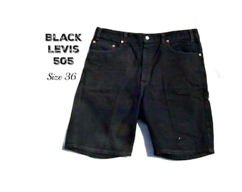 black jean shorts, Levis 505 shorts, men's jean shorts, denim shorts, 90's shorts, size -36 shorts, # 20