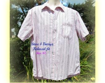 Men's pink shirt, men's stripped shirt,  collared shirt, short sleeve shirt,  size  XL,   # 30