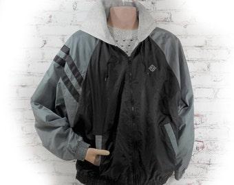 men's hooded jacket, lined jacket -  men's Spring jacket , retro men's jacket , men's outer wear, men's black grey jacket - L  # 146