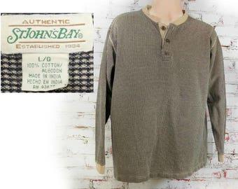 Polo Shirt men - Henley shirt - button neck shirt - men's St John's bay shirt ,men's brown knit shirt - knit shirt men  size large,   # 8