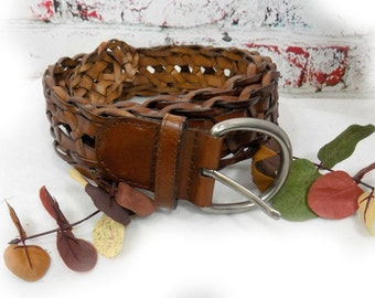Woven leather belt , braided belt ,  brown leather belt - preppy belt ,  chunky leather belt , Plaited leather belt , X Large  # B 9
