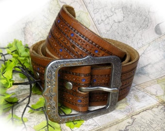 Brown Leather belt - unisex belt - men's belt , man's belt , casual leather belt , silver buckle belt, accessories belt - size M ,  # B 25