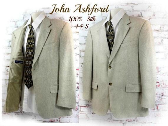 Silk sport coat - tan sport coat - men's silk blaz