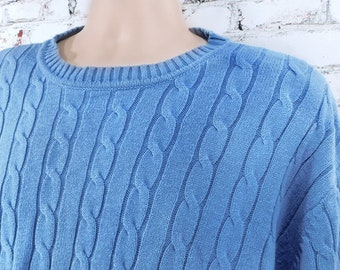 Blue cotton sweater men -unisex sweater - pullover sweater, boyfriend sweater,crew neck sweater,-cotton sweater men - X large sweater, # 12