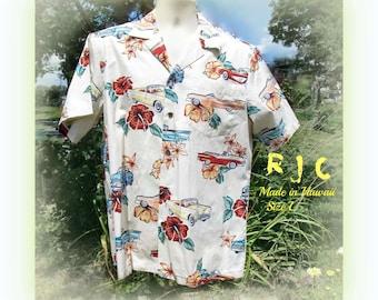 Men's Hawaiian shirt, Men's Aloha Tiki Shirt, Men's Vacation Shirt, Over sized shirt L(large)   # 33