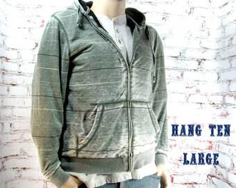 men's sweatshirt - hooded sweatshirt  -  warm man's sweatshirt , men's coat, men's outer wear, Hang Ten -  large - # 211