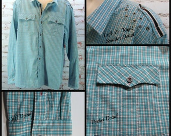 Cowboy shirt,  men's blue shirt, Long sleeve shirt, men's plaid shirt, men's western shirt,  Size  3 XL ,   # 9