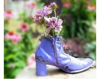 flower planter - outdoor planter , Patio Planter - Shoe planter -   Garden decor- Garden art -  # 25