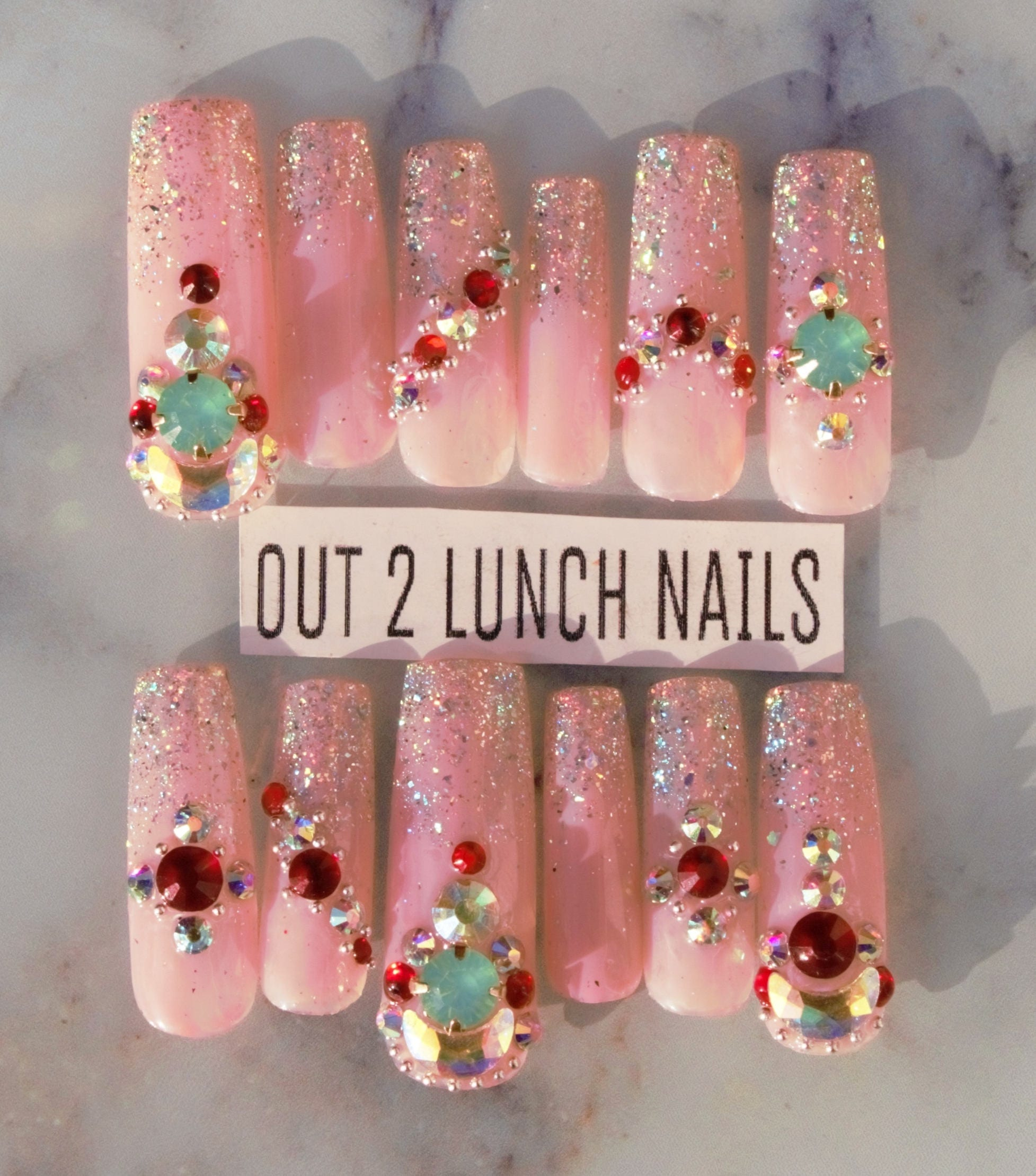 sparkle, holo, glam, nude,opal, Hand painted, Nail art, ombre, fake ...