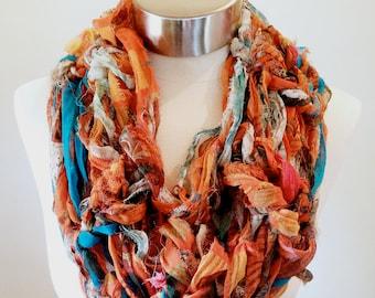 b6d9ad484837 Silk Sari Scrap Cowl Scarf, Chunky Knit Scarf, Eco Friendly Gift, Silk Sari  Ribbon Chiffon Yarn, Upcycled, Recycled, Ecofriendly Fair Trade