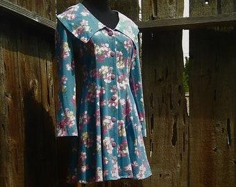 vintage 80s 90s floral mini dress grunge boho buttondown RAMPAGE size small to medium
