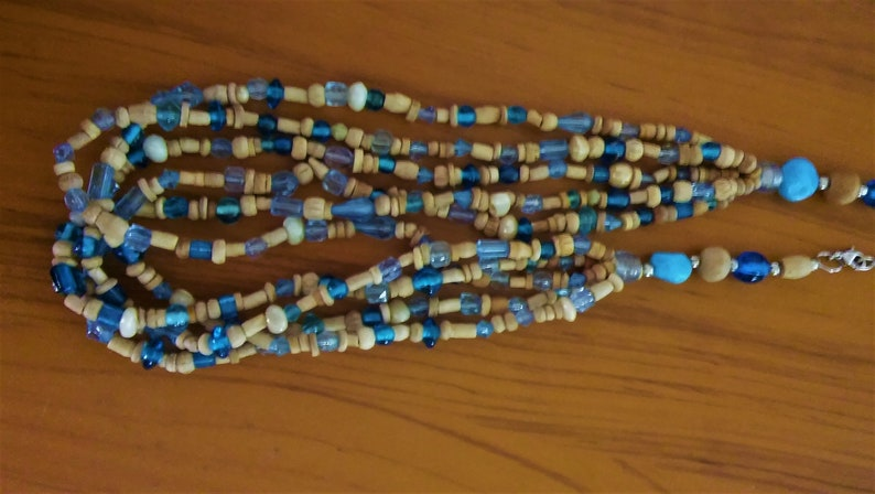 vintage beach boho wood and glass bead necklace 5 strand 1970/'s surfer bohemian hippie
