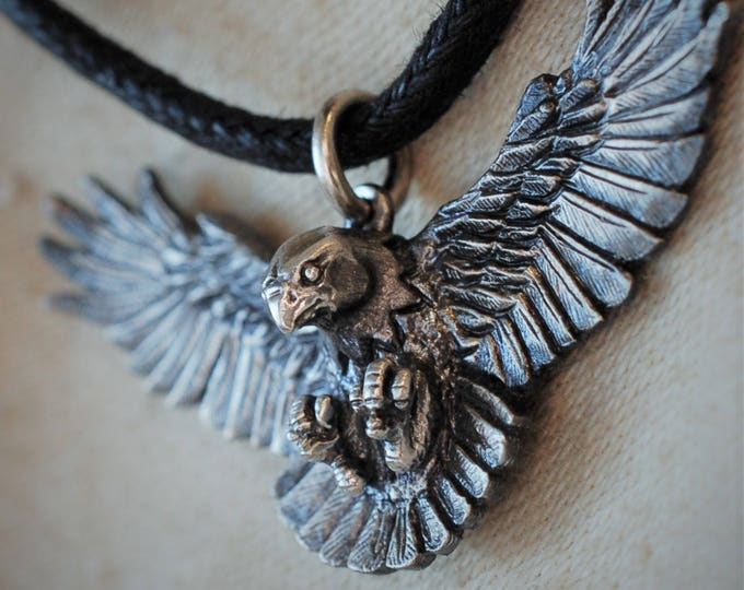 Eagle necklace, solid sterling silver, double sided, falcon, raptor, hawk, buzzard, harrier, kestrel, bird of prey, antique jewelry finish