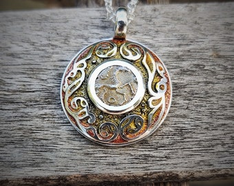 Ancient coin necklace. Solid silver amulet with rare 2000 year old Celtic coin featuring a horse and a wild boar. Silver chain.  Argent Aqua