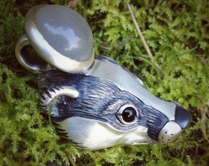 Badger necklace, silver and moonstone necklace, large badger pendant with gemstone eyes, wildlife jewelry, Hufflepuff mascot,