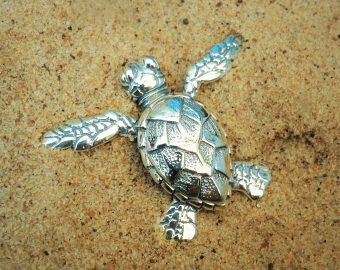 Sea turtle necklace, silver sea turtle, baby hatchling turtle necklace, double sided pendant, wildlife necklace.