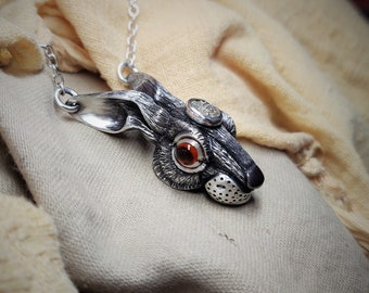 Silver hare pendant set with a genuine 2000 year old Iron Age Celtic coin, amber coloured eyes, rabbit wildlife jewellery. © Argent Aqua
