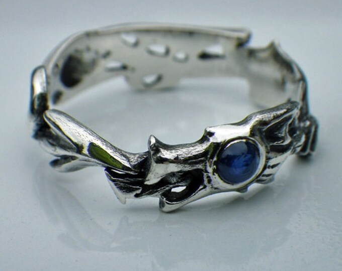 Dragon Ring, sterling silver and sapphire dragon ring, mythical medieval jewelry design, ouroboros ring, winged dragon ring.