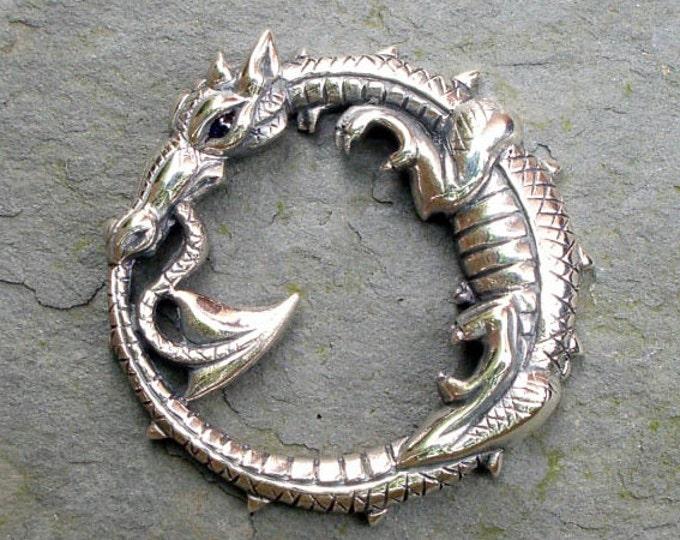 Dragon necklace, silver and sapphire, dragon pendant, ouroboros design, dragon jewelry, dragon amulet talisman,