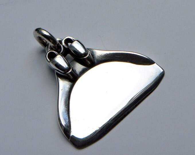 Freediving necklace, monofin, diving fin necklace, solid silver monoplame charm pendant.