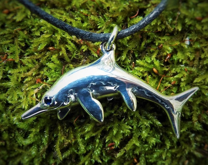 Ichthyosaurus necklace, prehistoric Ichthyosaur pendant, silver and sapphire, dinosaur jewelry design.