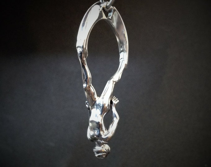 Freediver necklace, solid sterling silver, freediving pendant, silver 3D apnea free diving charm.